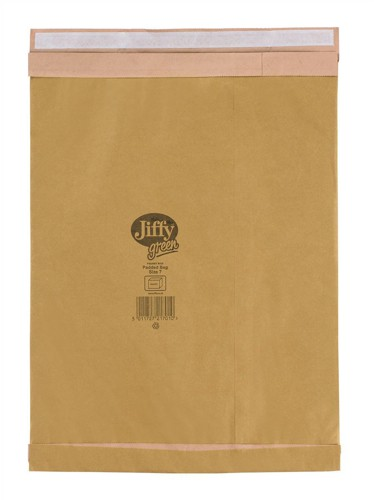 Jiffy Green Padded Bags with Kraft Outer and Recycled Paper Cushioning No.7 341x483mm Ref 01902 [Pack 25]
