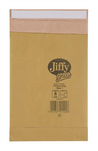 Jiffy Green Padded Bags with Kraft Outer and Recycled Paper Cushioning No.1 165x280mm Ref 01900 [Pack 25]