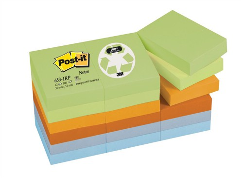 Post-it Notes Recycled 100 Sheets per Pad 38x51mm Pastel Rainbow Ref 653-1RP [Pack 12]