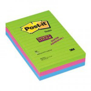 3M Post-it Super Sticky Notes Ultra Ruled 102x152mm Pack 3 Code 660-3SSUC