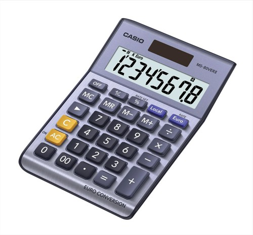Casio Calculator Euro Desktop Battery Solar-power 8 Digit 3 Key Memory 103x137x31mm Ref MS80TV