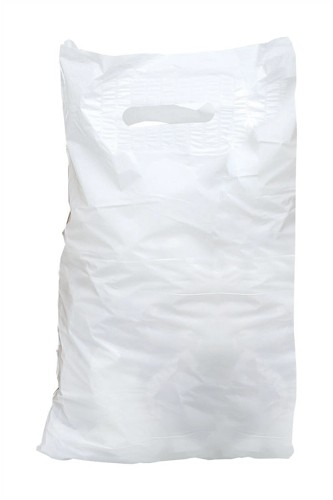 Carrier Bags Polythene Patch Handle 30 microns White [Pack 500]