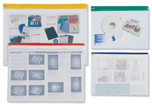 INDX Zip Pouch Lightweight Polythene Clear with Coloured Seal A3 Assorted Ref 50027 [Pack 25]