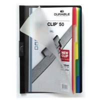 Durable Duraclip 50 Index Folder with 5-Part Divider for 50 Sheets A4 Black Ref 2234/01 [Pack 25]