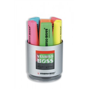 Stabilo Boss Desk Set of Six Highlighters in Pot Assorted Ref 7006
