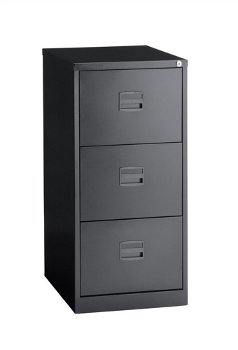Trexus Filing Cabinet Steel Lockable 3-Drawer W470xD622xH1016mm Black Ref CC3H1A av1