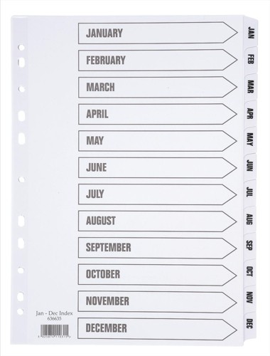 White Box A4 Mylar Index Jan-Dec