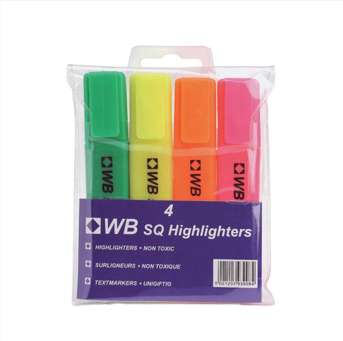 White Box Highlighters Assorted [Pack 4]