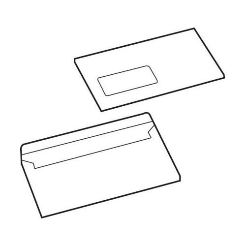White Box Envelope Press Seal Window Wallet DL White [Pack 1000]