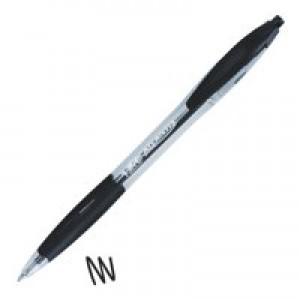 Bic Atlantis Ball Pen Retractable Cushioned Grip 1.0mm Tip 0.4mm Line Black Ref 887132 [Pack 12]