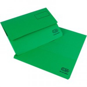 Elba Bright Manilla Document Wallet 285gsm Capacity 32mm Foolscap Green Ref 100090268 [Pack 25]