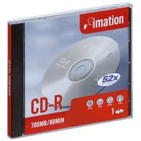 Imation CD-R Recordable Disk Slim Cased Write-once 52x Speed 80Min 700MB Ref i18645 [Pack 10]
