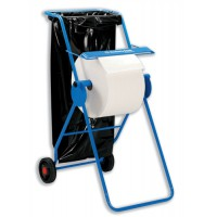 Image for Mobi Roll Dispenser with Serrated Cutter Tubular Frame 2 Wheels for Industrial Cleaning Towel Ref C01848