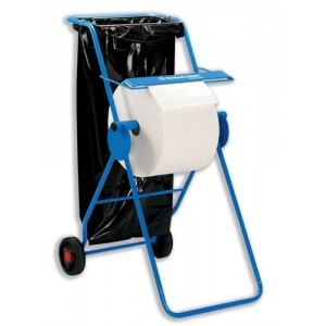 Mobi Roll Dispenser With Serrated Cutter Tubular Frame 2 Wheels For Industrial Cleaning Towel C01848
