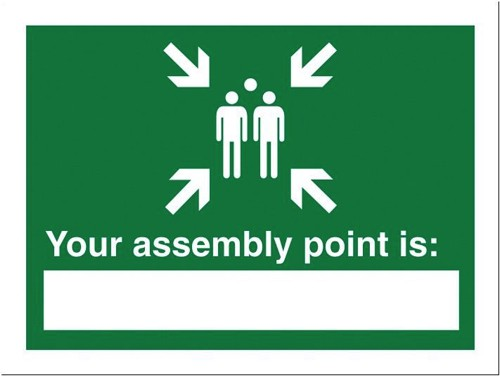Stewart Superior Your Assembly Point Is Sign Write-on 200x150mm Self-adhesive Vinyl Ref NS035