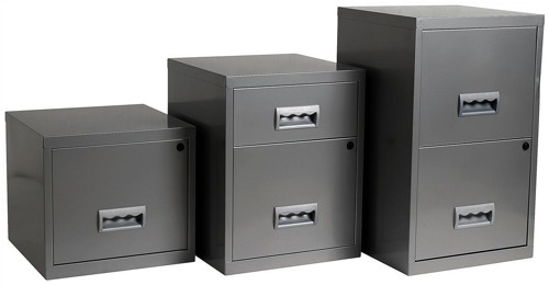 Filing Cabinet Steel Lockable 1 Drawer A4 Silver