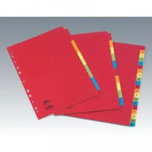 Concord Bright Subject Dividers Europunched 10-Part A4 Assorted Ref 50899