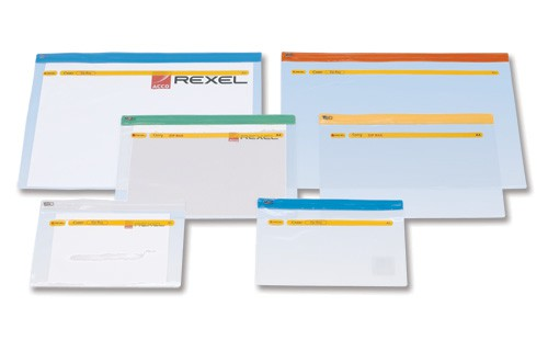 Rexel Carry Zip Bag Heavyweight PVC Clear with Coloured Seal A5 Assorted Ref A5 [Pack 30]