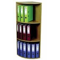 Corner Filing Unit 3 Tier for 18 Lever Arch Files Light Oak