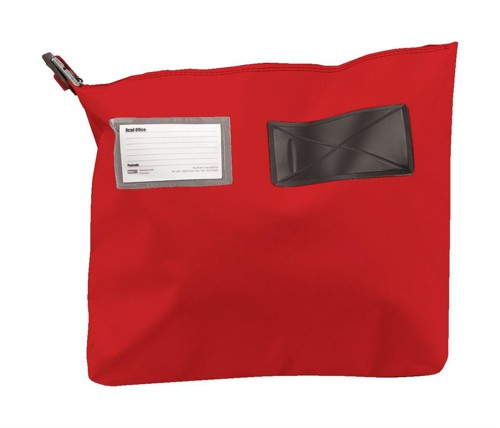 Versapak Mailing Pouch Gusseted Bulk Volume Sealable with Window PVC 380x340x75mm Red Ref CG2 RDS