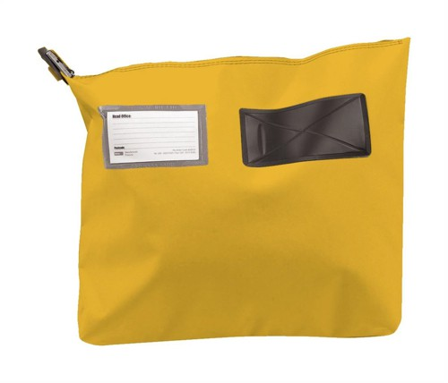 Versapak Mailing Pouch Gusseted Bulk Volume Sealable with Window PVC 380x340x75mm Yellow Ref CG2 YWS