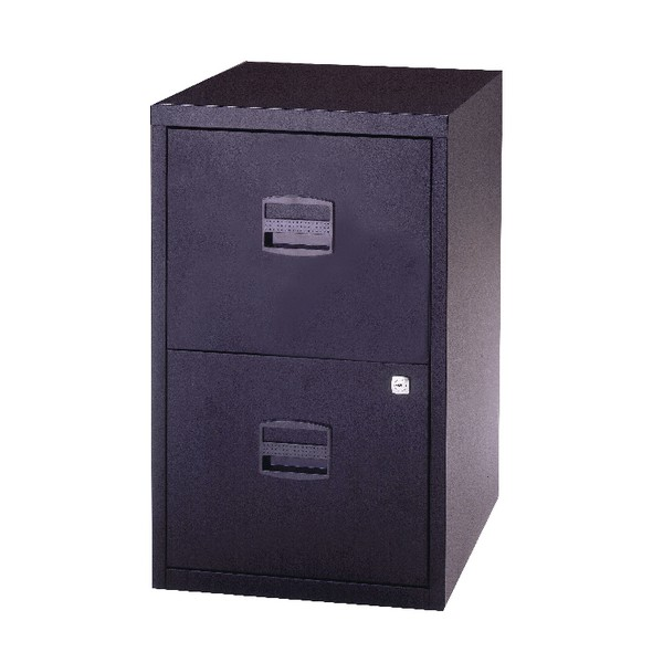 Trexus by Bisley SoHo Filing Cabinet Steel Lockable 2-Drawer A4 W413xD400xH672mm Black