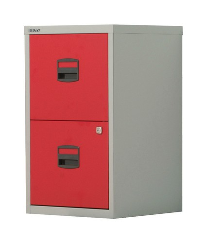 Trexus by Bisley SoHo Filing Cabinet Steel Lockable 2-Drawer A4 W413xD400xH672mm Grey and Red
