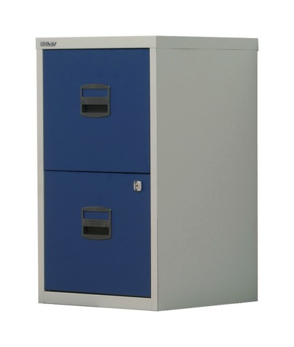 Trexus by Bisley SoHo Filing Cabinet Steel Lockable 2-Drawer A4 W413xD400xH672mm Grey and Blue
