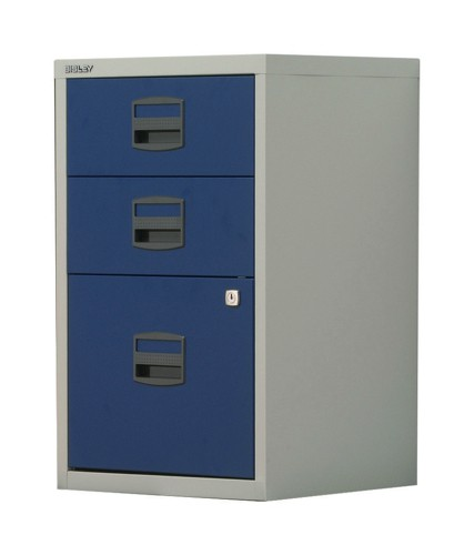 Trexus by Bisley SoHo Filing Cabinet Steel Lockable 3-Drawer A4 W413xD400xH672mm Grey and Blue