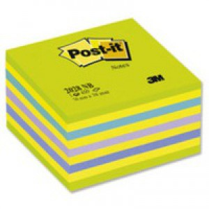 3M Post-it Neon Cube 76x76mm Blue 2028NB