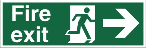 Stewart Superior Fire Exit Sign Man and Arrow Right 600x200mm Polypropylene Ref SP079PVC