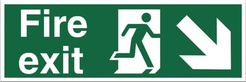 Stewart Superior Fire Exit Sign Man and Arrow Down Right 600x200mm Polypropylene Ref SP081PVC