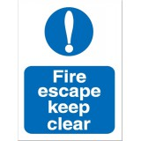 Stewart Superior Fire Escape Keep Clear Self Adhesive Sign Code M025SAV