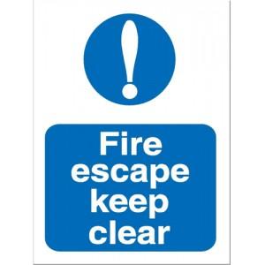 Stewart Superior Fire Escape Keep Clear Self Adhesive Sign Code M025SAV