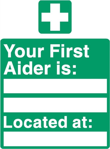 Stewart Superior Your First-Aider Is Located At Self Adhesive Sign Ref SP049PVC