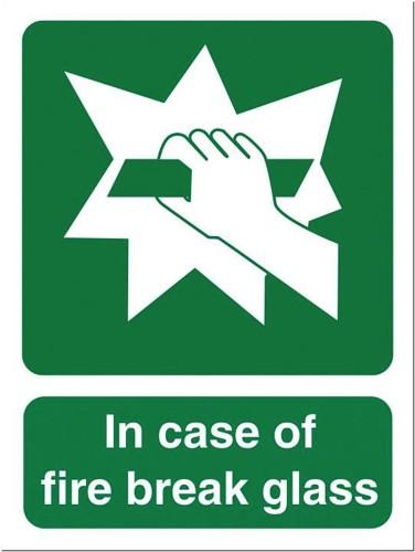 Stewart Superior In Case Of Fire Break Glass Self Adhesive Sign Ref SP074SAV