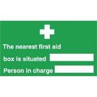 Stewart Superior Your Nearest First-Aid Box Is Self Adhesive Sign Ref SP075SAV