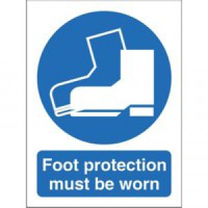 Stewart Superior Foot Protection Must Be Worn Self Adhesive Sign Code M003SAV