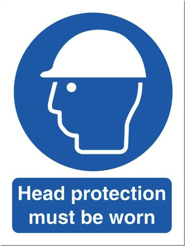 Stewart Superior Head Protection Must Be Worn Self Adhesive Sign Ref M005SAV