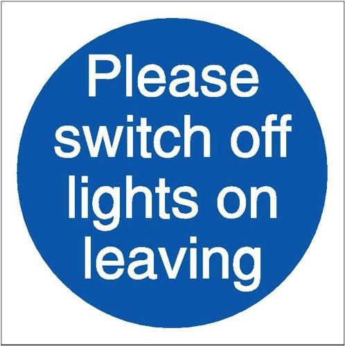 Stewart Superior Please Switch Off Lights Self Adhesive Sign Ref M013SAV [Pack 5]