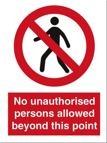 Stewart Superior No Unauth P-Sons Beyond Point Self Adhesive Sign Ref P099PVC