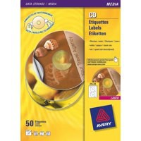 Avery CD/DVD Labels Laser 2 per Sheet Dia.117mm Photo Quality Glossy Colour Ref L7760-25 [50 Labels]