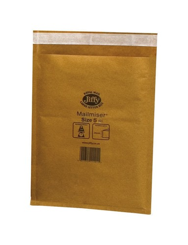 Jiffy Mailmiser Protective Envelopes Bubble-lined No.5 Gold 260x345mm Ref JMM-GO-5 [Pack 50]