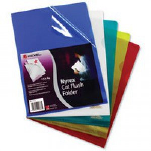 Rexel Nyrex Folder Cut Flush A4 Assorted Ref 12161AS [Pack 25]