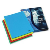 Rexel Cut Back Folder Polypropylene Copy-secure Embossed Finish A4 Assorted Ref 12223AS [Pack 100]