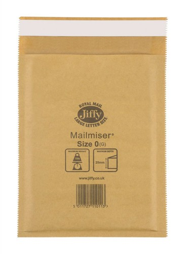 Jiffy Mailmiser Protective Envelopes Bubble-lined No.0 Gold 140x195mm Ref JMM-GO-0 [Pack 100]