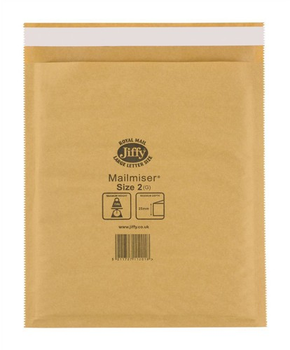 Jiffy Mailmiser Protective Envelopes Bubble-lined No.2 Gold 205x245mm Ref JMM-GO-2 [Pack 100]