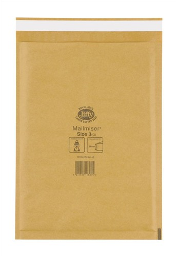 Jiffy Mailmiser Protective Envelopes Bubble-lined No.3 Gold 220x320mm Ref JMM-GO-3 [Pack 50]