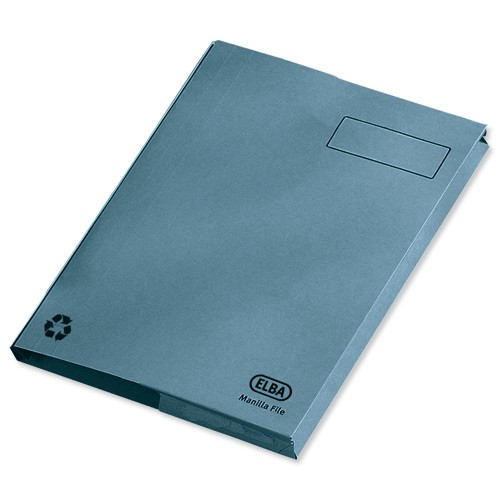 Elba Clifton Flat File with Front Pocket 315gsm Capacity 50mm Foolscap Blue Ref 100090178 [Pack 25]