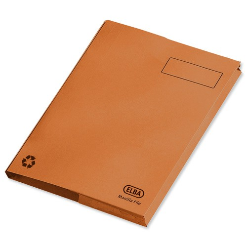 Elba Clifton Flat File with Front Pocket 315gsm Capacity 50mm Foolscap Orange Ref 100090321 [Pack 25]